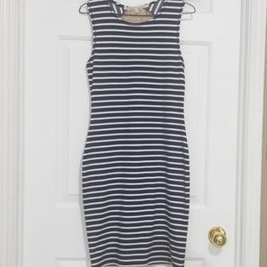 3/25$ Rachel Roy Navy Stripe Lace Back Midi Dress